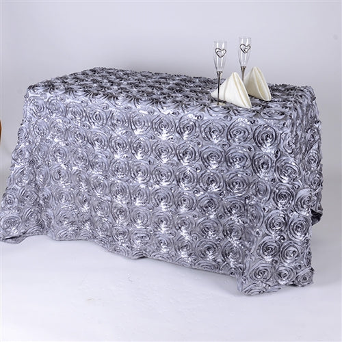 Silver 90 Inch x 132 Inch Rosette Tablecloths