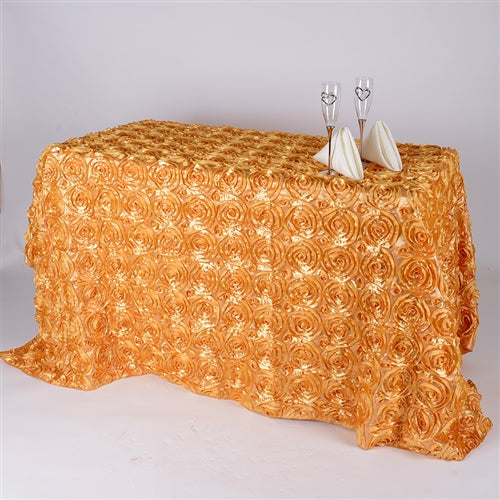 Gold 90 Inch x 156  Inch Rectangle Rosette Tablecloths