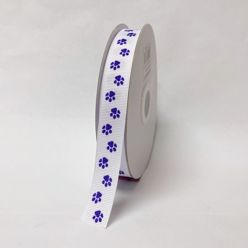 Purple - Grosgrain Ribbon Paw Print - ( W: 5/8 inch | L: 25 Yards )