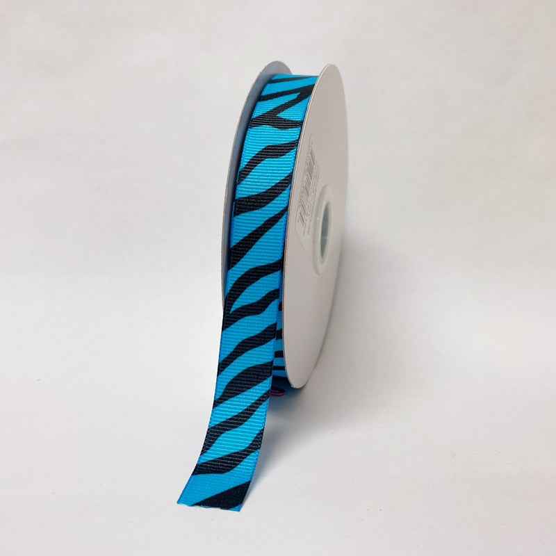 Turquoise - Grosgrain Ribbon Animal Print - ( W: 5/8 inch | L: 25 Yards )