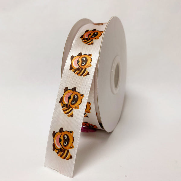 Satin Ribbon Raccoon Design - ( W: 7/8 Inch | L: 25 Yards ) - 90070509