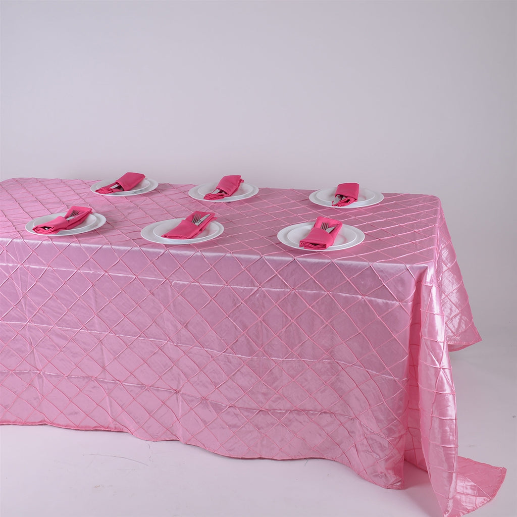 Pink - 90 inch x 132 inch Pintuck Satin Tablecloth