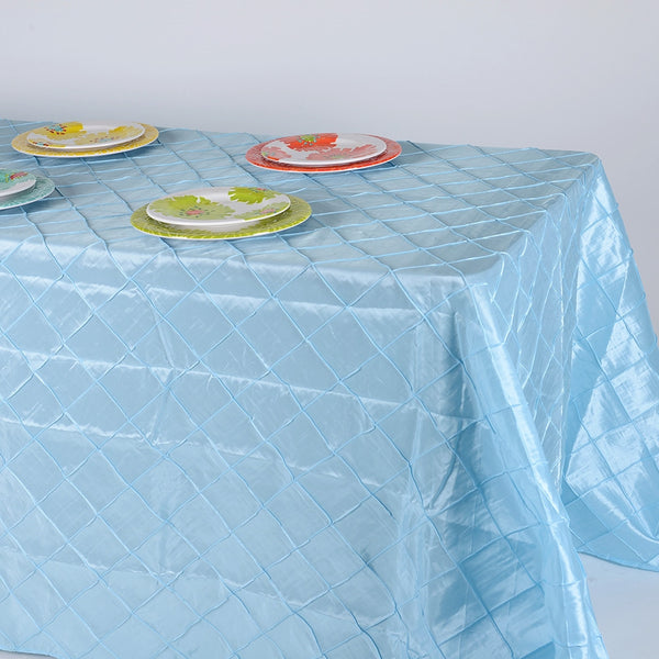 Light Blue- 90 inch x 132 inch Pintuck Satin Tablecloth