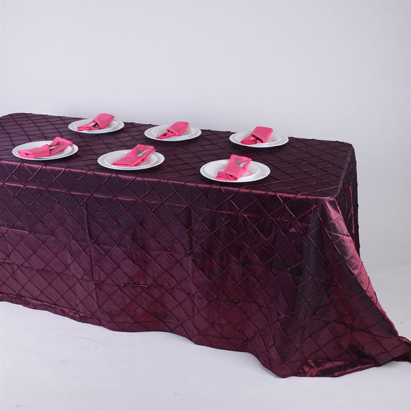 Burgundy - 90 inch x 132 inch Pintuck Satin Tablecloth