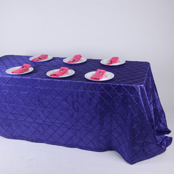 Purple - 90 inch x 132 inch Pintuck Satin Tablecloth