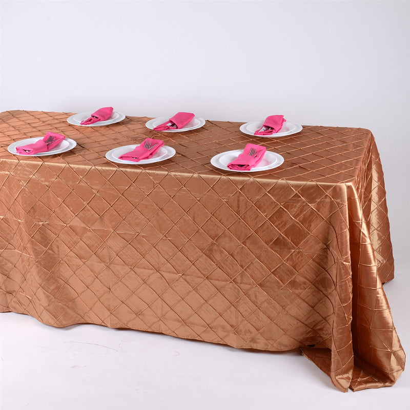 Gold - 90 inch x 132 inch Pintuck Satin Tablecloth