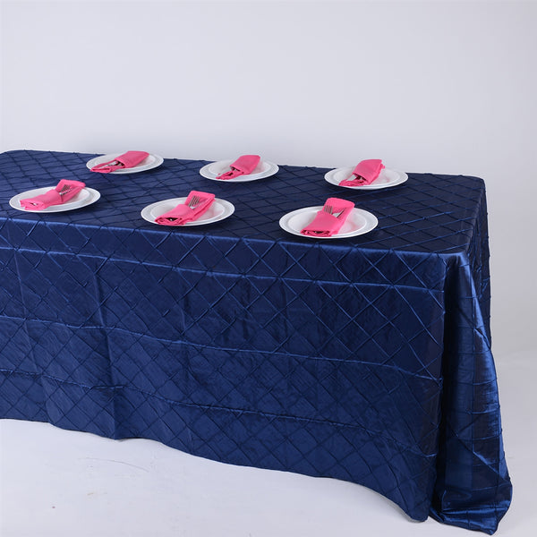 Navy - 90 inch x 132 inch Pintuck Satin Tablecloth