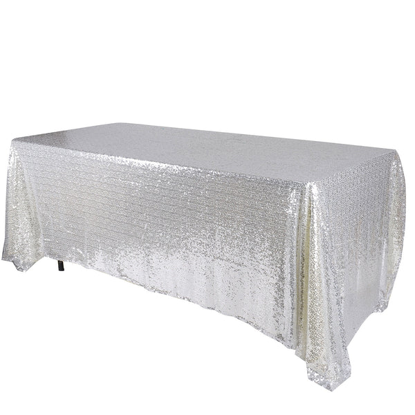Silver 90x156 inch Rectangular Duchess Sequin Tablecloth