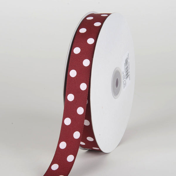 Grosgrain Ribbon Polka Dot Burgundy with White Dots ( 7/8 inch | 50 Yards )