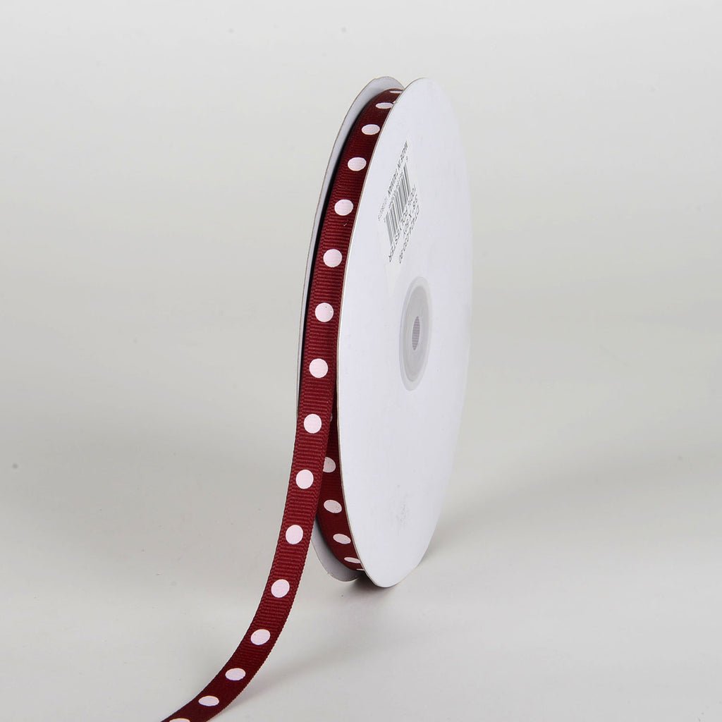 Grosgrain Ribbon Polka Dot Burgundy with White Dots ( W: 3/8 inch | L: 50 Yards )