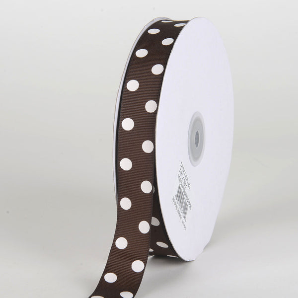 Grosgrain Ribbon Polka Dot Chocolate Brown with White Dots ( 7/8 inch | 50 Yards )