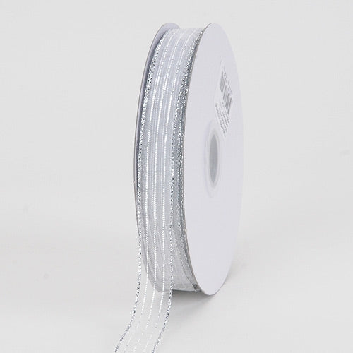 Corsage Ribbon White Silver Line ( 3/8 inch | 50 Yards )