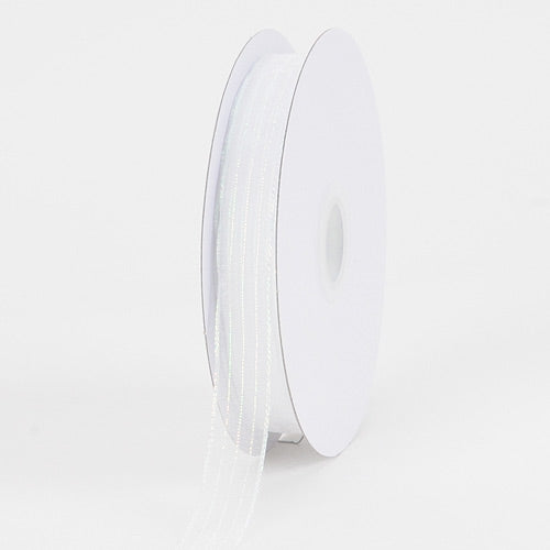 Corsage Ribbon White Irridescent Line ( 5/8 inch | 50 Yards )