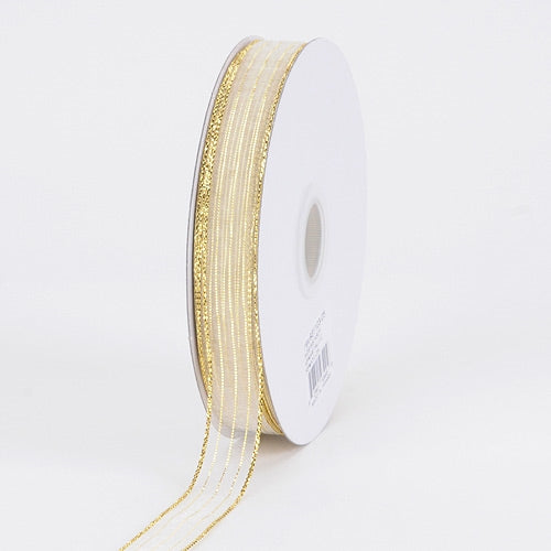 Corsage Ribbon White With Gold ( 5/8 inch | 50 Yards )
