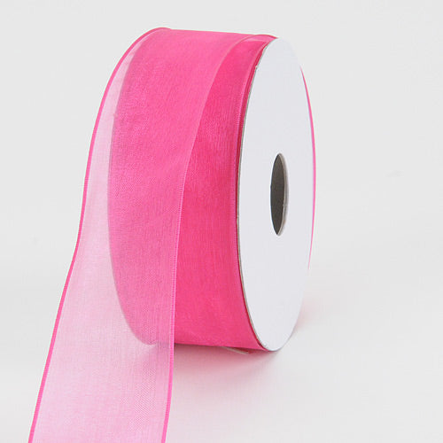 Fuchsia - Organza Ribbon Thin Wire Edge 25 Yards - ( 1-1/2 inch | 25 Yards )