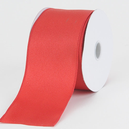 2-1/2 x 10 Yd Red Satin Ribbon Thick Wired Edge