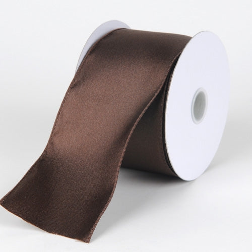2-1/2 x 10 Yd Chocolate Brown Satin Ribbon Thick Wired Edge