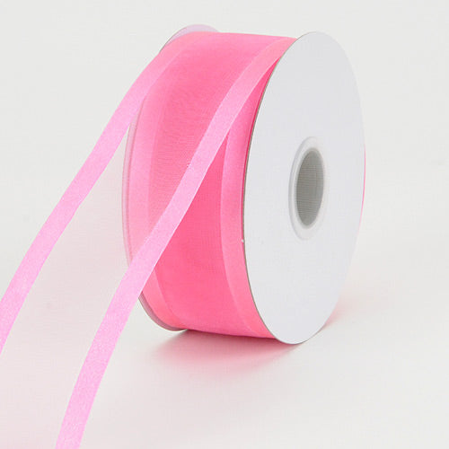 Hot Pink - Organza Ribbon Two Striped Satin Edge - ( 1-1/2 inch | 25 Yards )