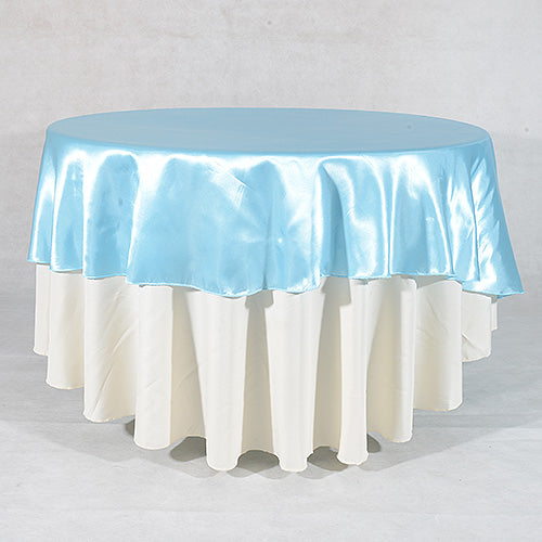 Light Blue - 108 Inch Satin Round Tablecloths - ( 108 inch | Round )