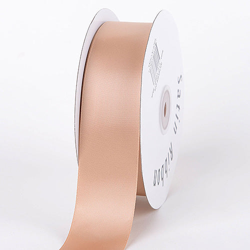 Tan - Satin Ribbon Single Face - ( W: 3/8 inch | L: 100 Yards )