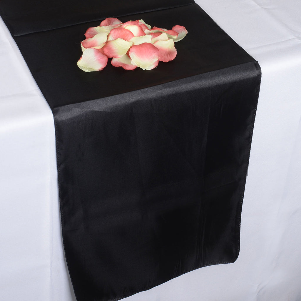 Black - Satin Table Runner - ( 12 inch x 108 inches )