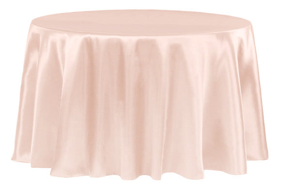 Pre-Order Now & Ship on Nov 15th! - Blush - 108 Inch Satin Round Tablecloths - ( 108 inch | Round )