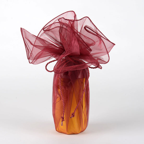 Organza Wrapper with Cord - Burgundy