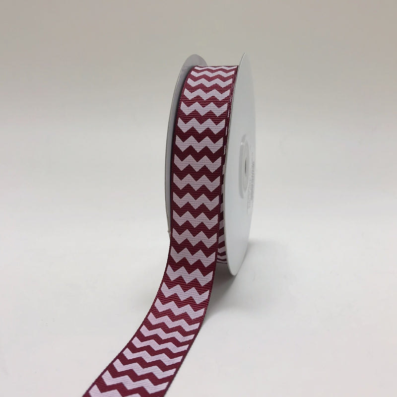 Burgundy - Chevron Design Grosgrain Ribbon ( 7/8 inch | 25 Yards )