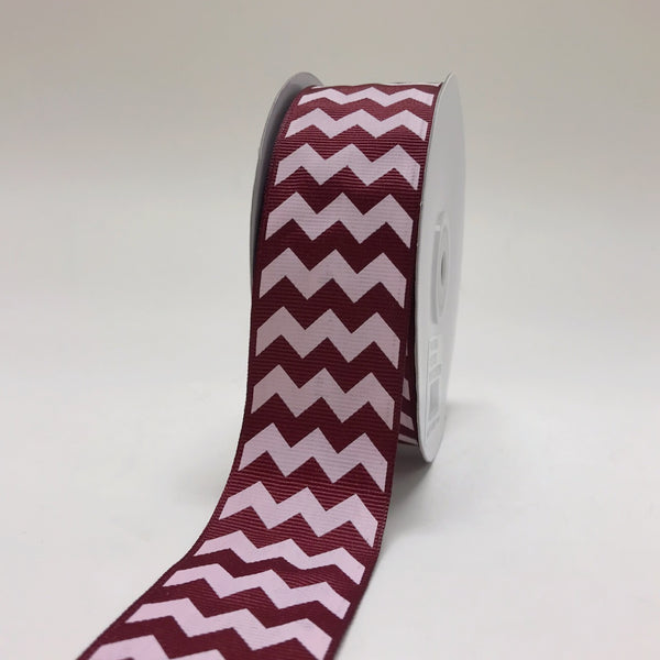 Burgundy - Chevron Design Grosgrain Ribbon ( 1-1/2 inch | 25 Yards )