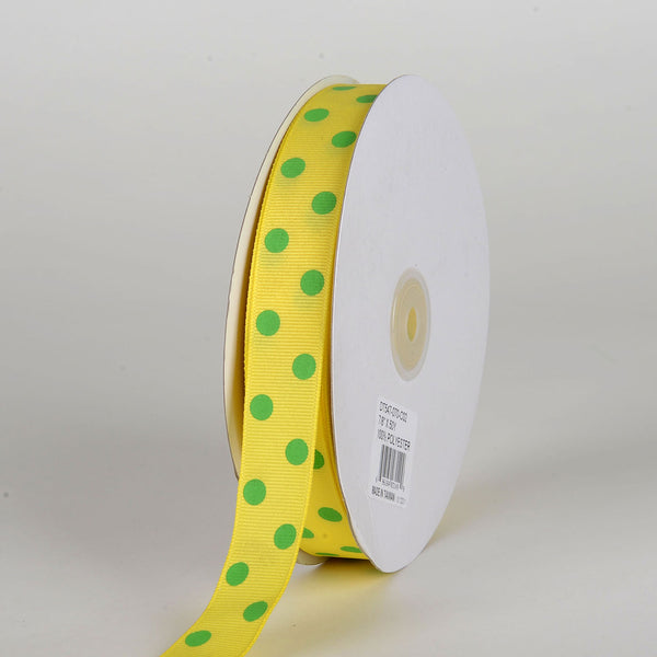 Grosgrain Ribbon Polka Dot Canary with Apple Dots ( 7/8 inch | 50 Yards )