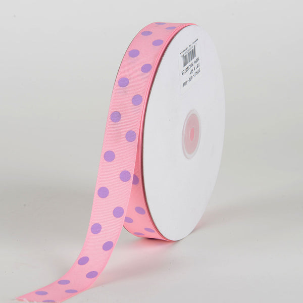Grosgrain Ribbon Polka Dot Pink with Lavender Dots ( 7/8 inch | 50 Yards )