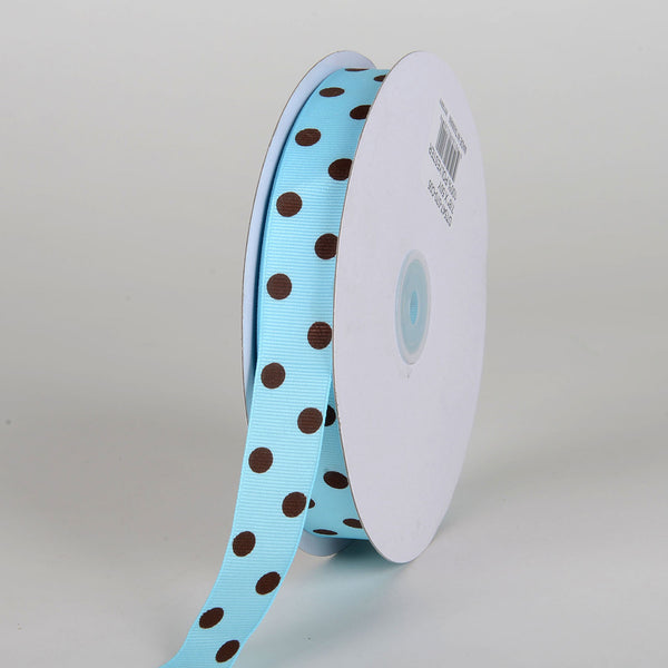 Grosgrain Ribbon Polka Dot Turquoise with Brown Dots ( 7/8 inch | 50 Yards )