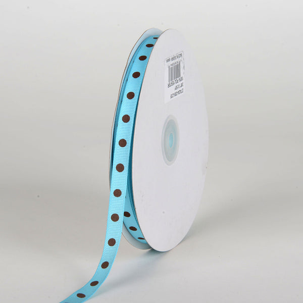 Grosgrain Ribbon Polka Dot Turquoise with Brown Dots ( W: 3/8 inch | L: 50 Yards )