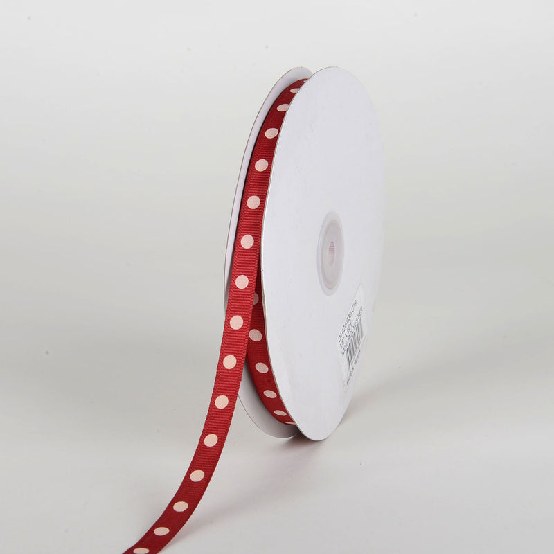 Grosgrain Ribbon Polka Dot Cranberry With Ivory Dots ( W: 3/8 inch | L: 50 Yards )