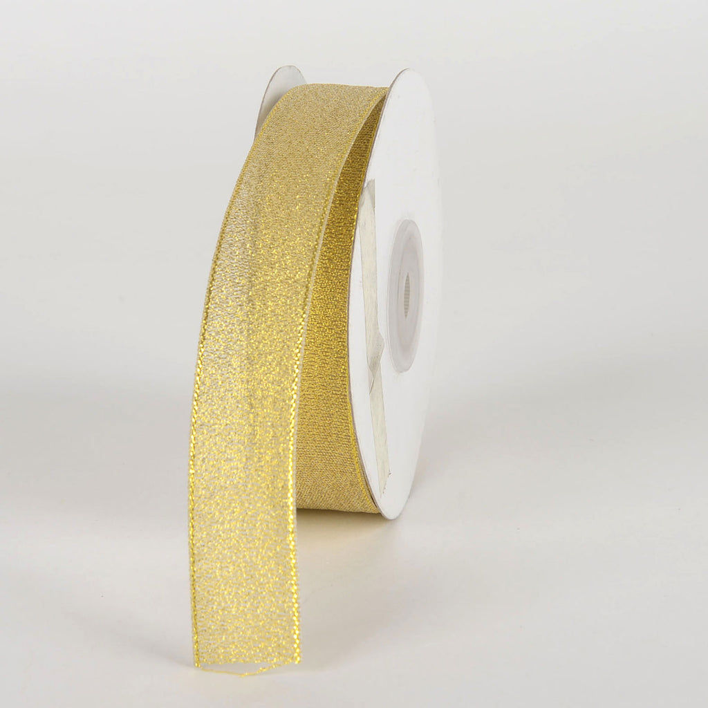 Gold - Metallic Sheer Ribbon - ( 7/8 Inch x 25 Yards )