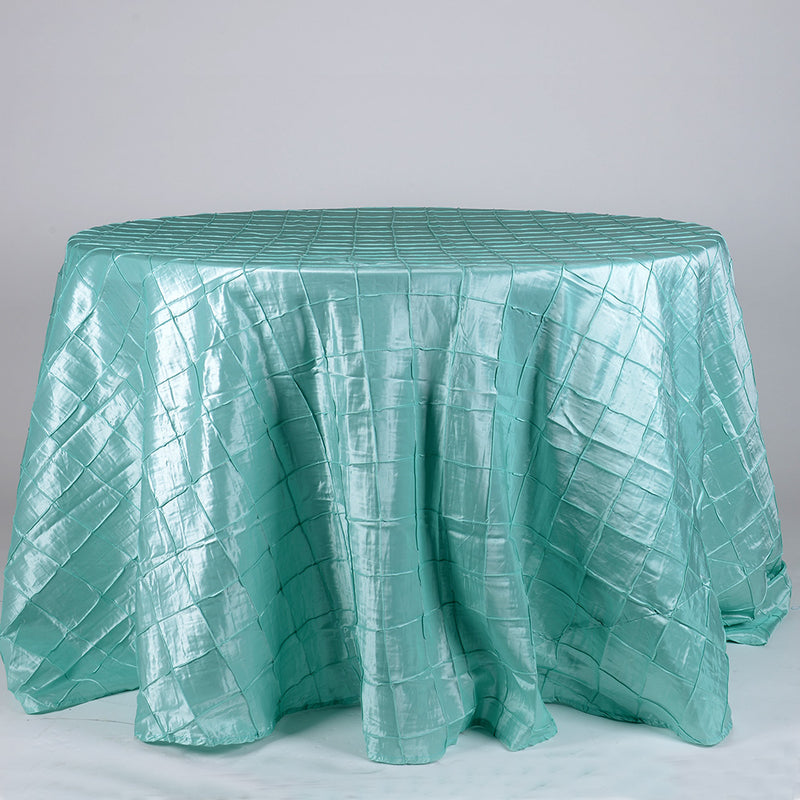 Aqua Blue - 132 inch Round Pintuck Satin Tablecloth