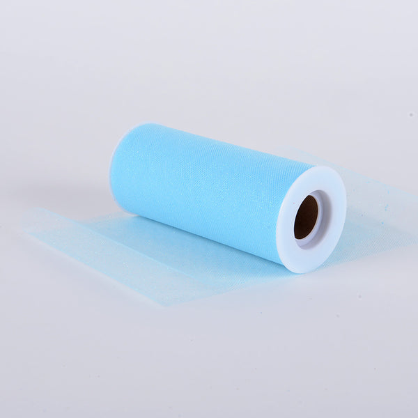 Pre-Order Now & Ship On August 4th! - Light Blue Premium Glitter Tulle Fabric ( W: 6 Inch | L: 10 Yards )