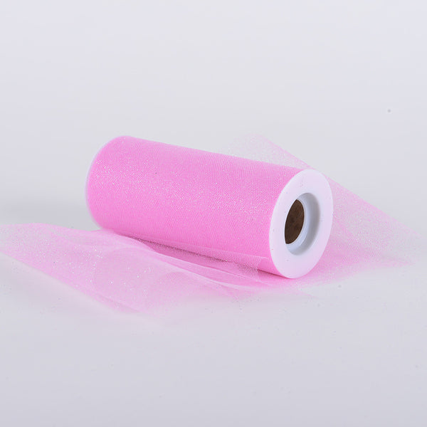 Pre-Order Now & Ship On August 4th! - Light Pink Premium Glitter Tulle Fabric ( W: 6 Inch | L: 10 Yards )