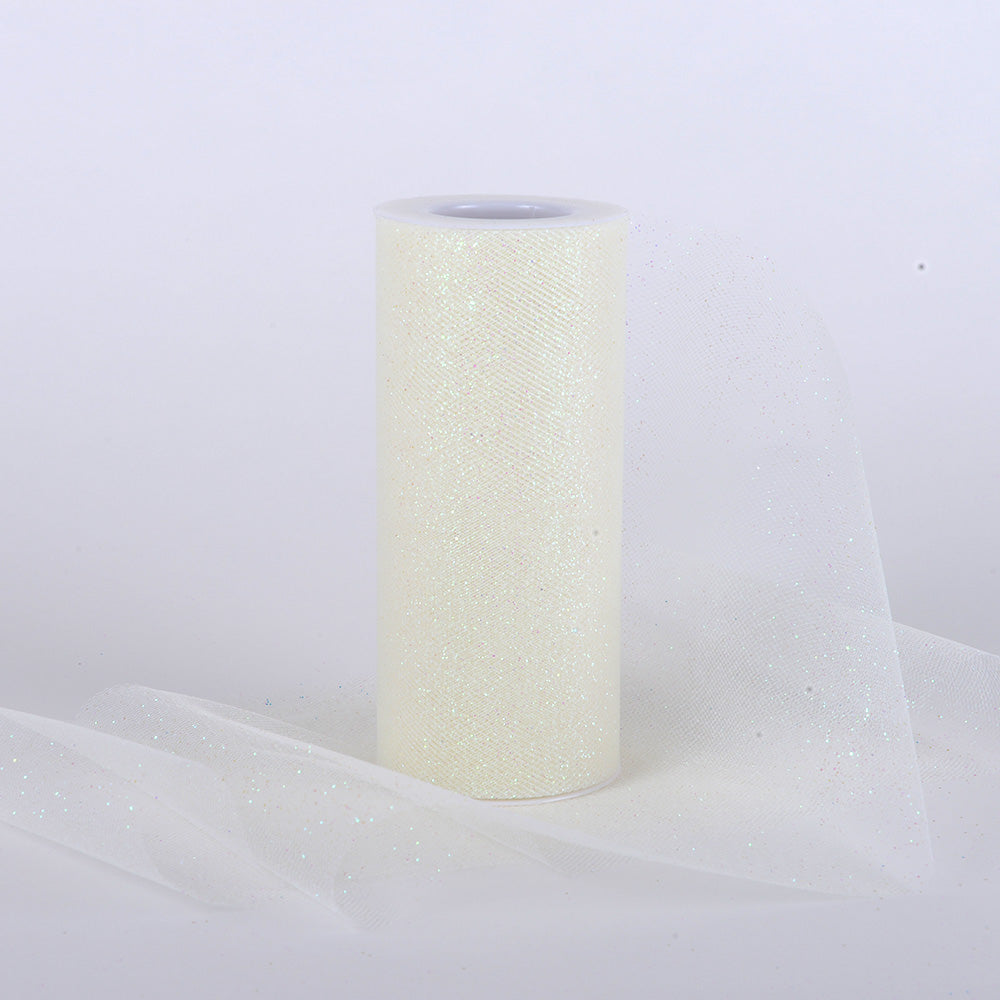 Ivory Premium Glitter Tulle Fabric ( W: 6 Inch | L: 10 Yards )