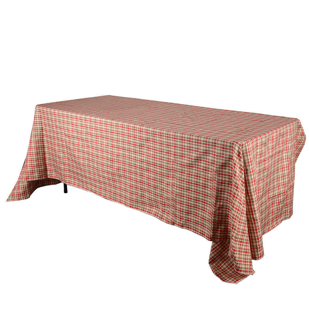 Red - Checkered/ Plaid Rectangle Tablecloths - ( 58 inch x 126 inch )