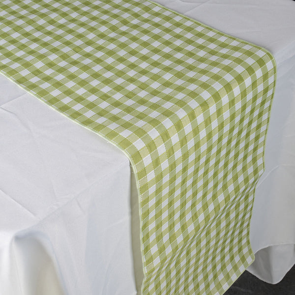 Lime - Checkered/ Plaid Table Runner - ( 14 inch x 90 inch )