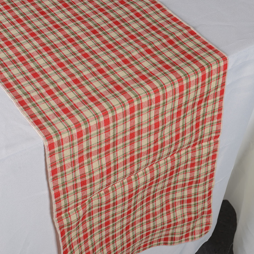 Red - Checkered/ Plaid Table Runner - ( 14 inch x 90 inch )