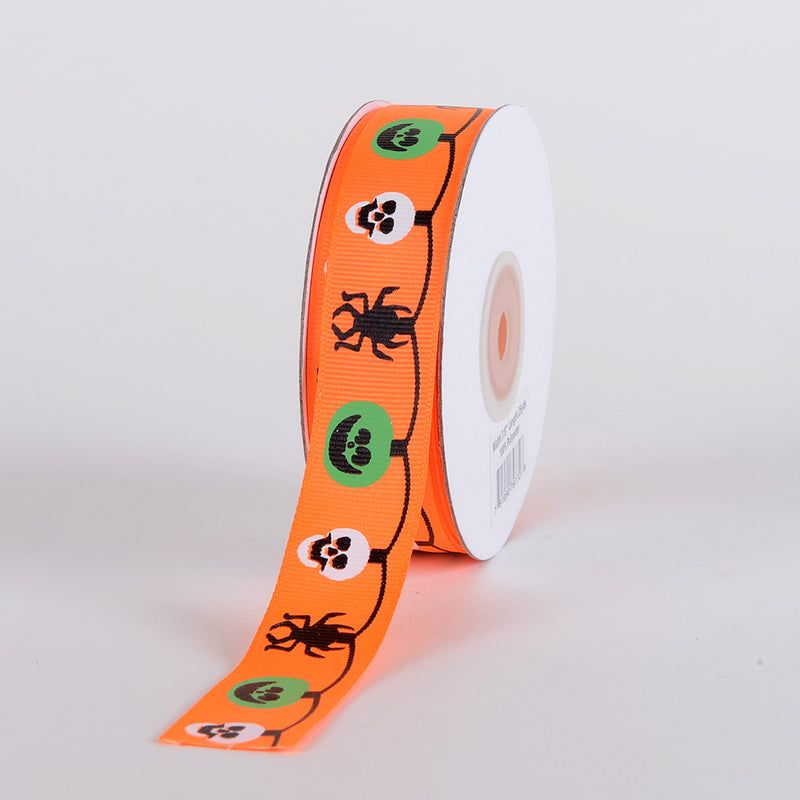 Neon Orange - Halloween Ribbon - ( 5/8 inch x 25 yards )