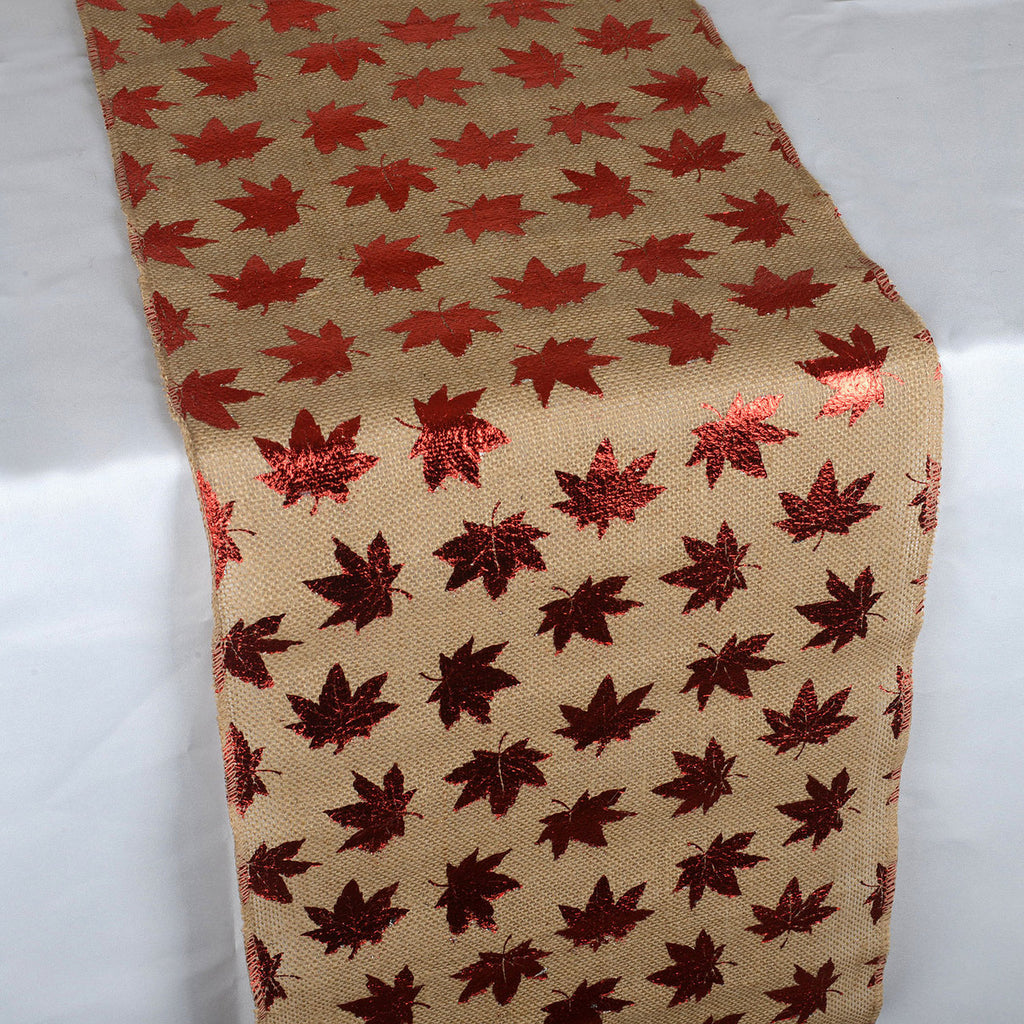 Leaf Natural - 100% Natural Jute Burlap Table Runner ( 14 inch x 108 inches )