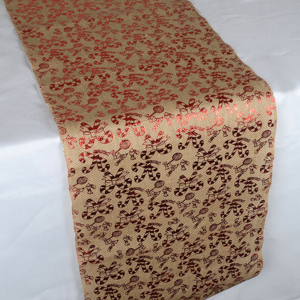Candy Cane Natural - 100% Natural Jute Burlap Table Runner ( 14 inch x 108 inches )