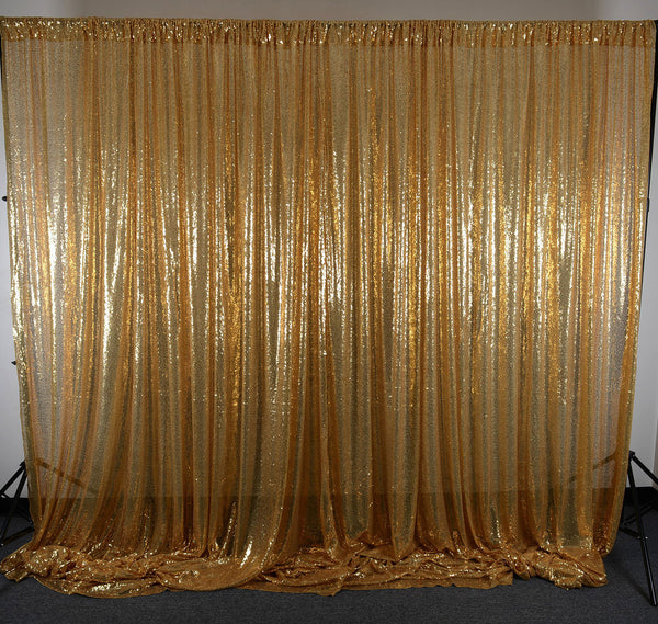 Gold Sequin Backdrop Curtain 20Ft x 10Ft