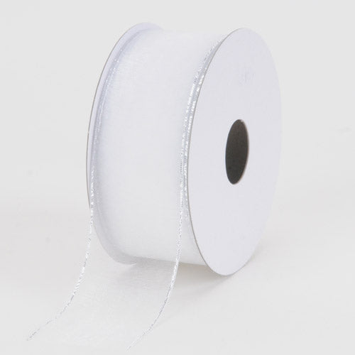 White with Silver Edge - Sheer Organza Ribbon  - ( W: 3/8 inch | L: 25 Yards )