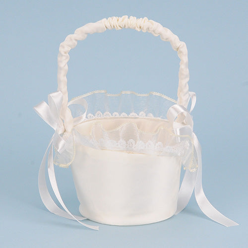 Flower Girl Baskets White ( 7 Inch Tall ) - 403218
