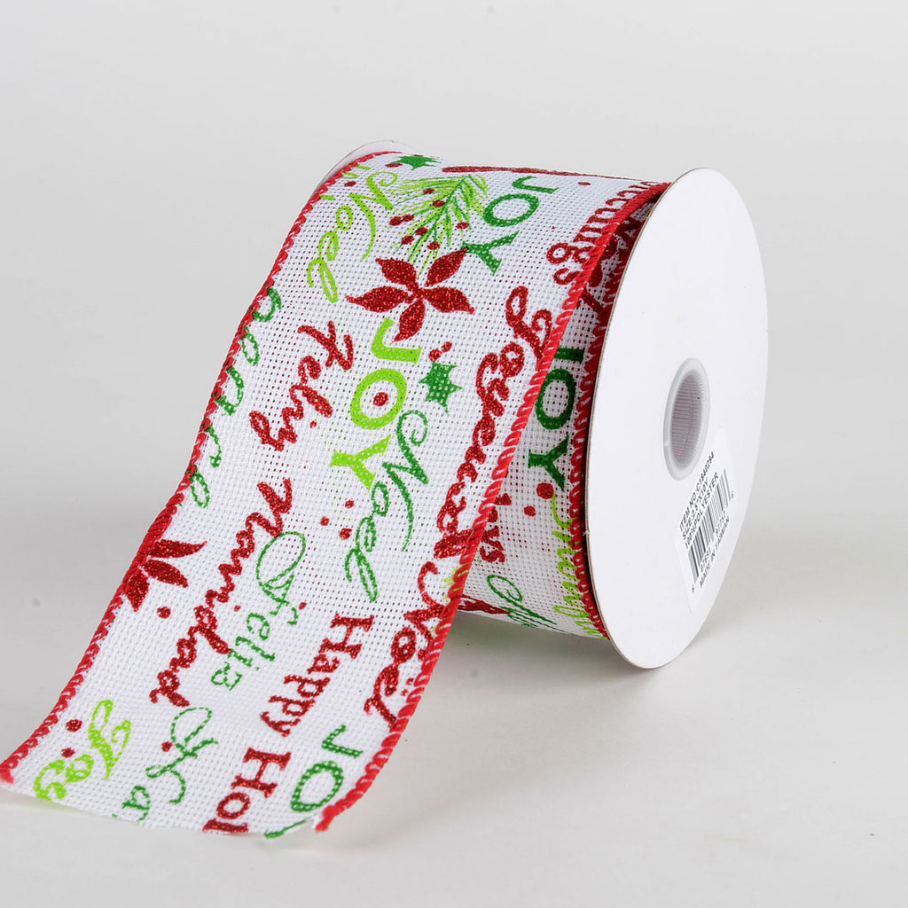White Natural Faux Burlap Christmas Ribbon - (2.5 inch x 10 yards) - C1840294