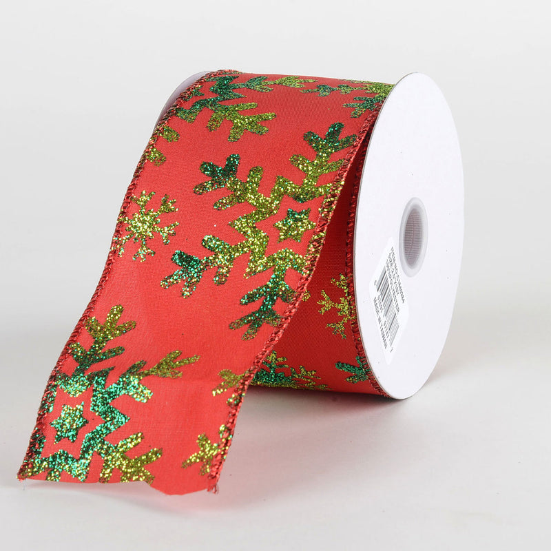 Red Green Snowflake Satin Christmas Ribbon - (2.5 inch x 10 yards) - C1840284